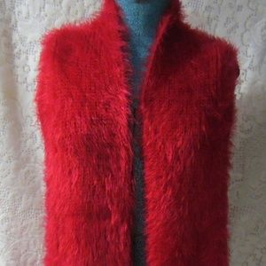 Radzoli red fuzzy long vest  one size